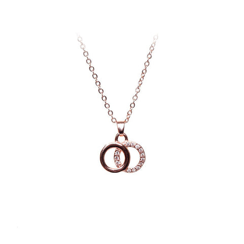 Love Lift Double Circle Necklace Rose Gold