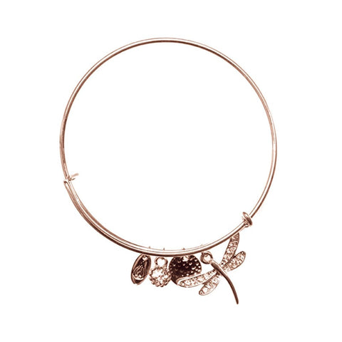 Love Lift Dragonfly Bangle Rose Gold