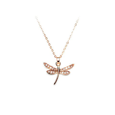 Love Lift Dragonfly Necklace Rose Gold