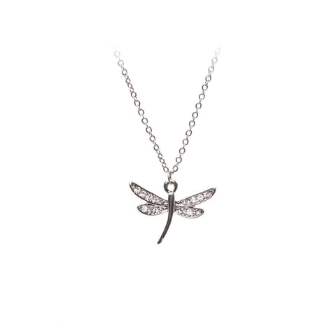 Love Lift Dragonfly Necklace Silver