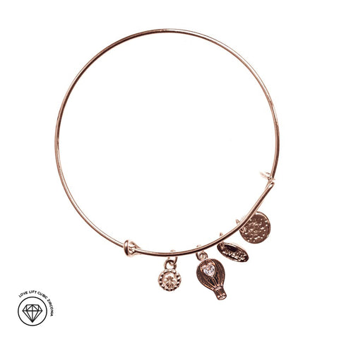 Love Lift Cubic Zirconia Signature Bangle Rose Gold