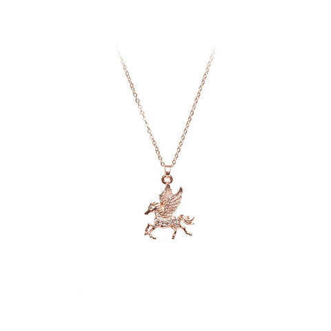 Love Lift Pegasus Necklace Rose Gold