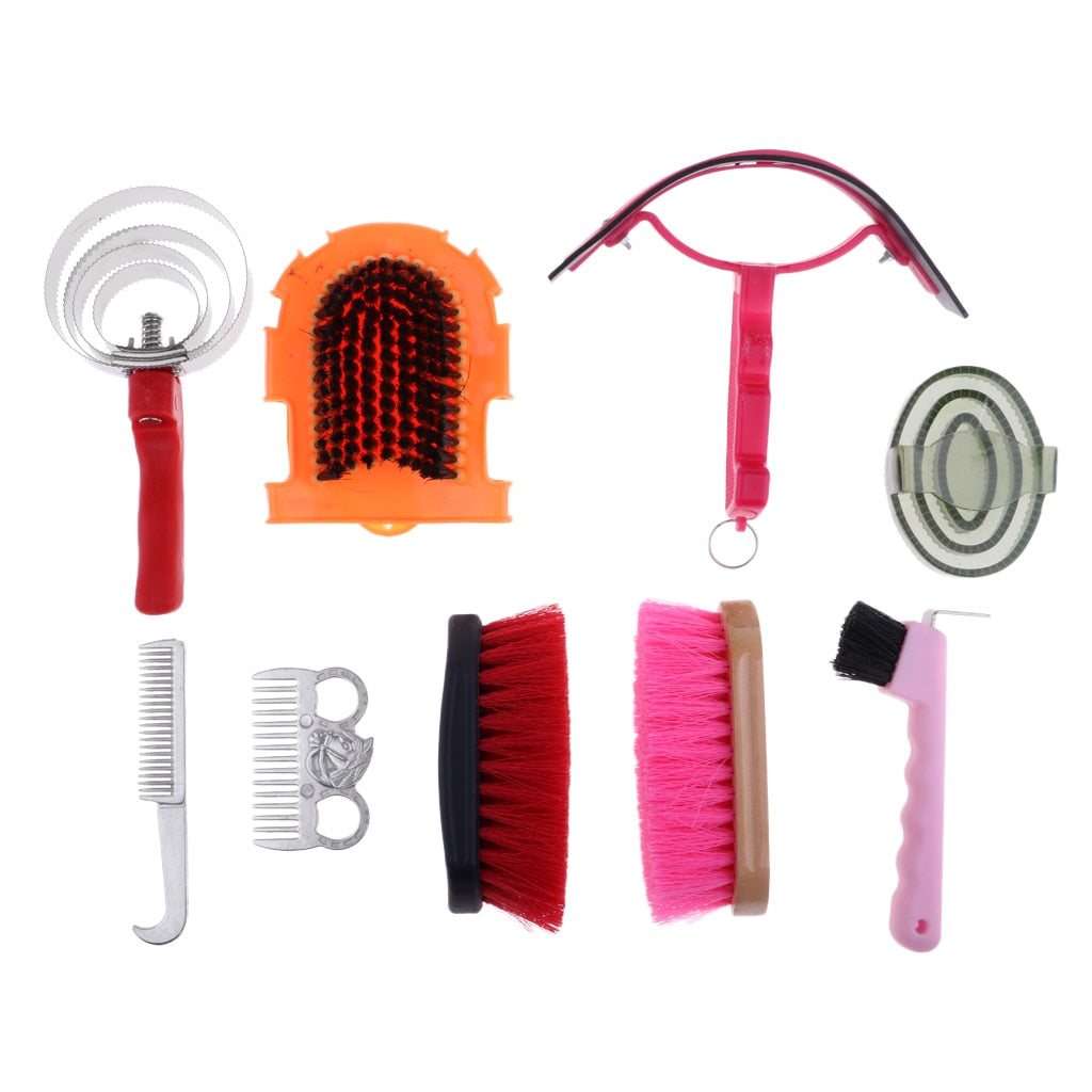 Horse Grooming Care Gear Set with Carry Bag