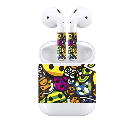 Vinyl Protective Wrap Sticker Skins Decals Black For AirPods Wireless Headphones