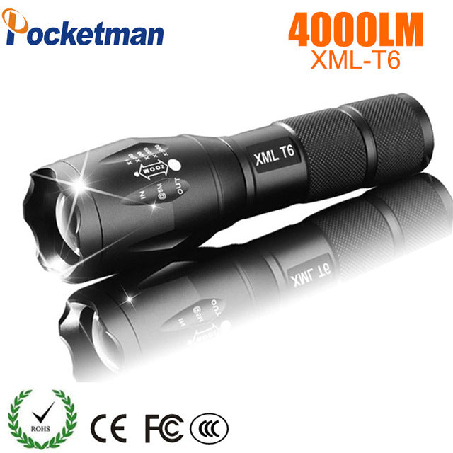 LED Rechargeable Flashlight Pocketman XML T6 linterna torch 4000 lumens 18650 Battery Outdoor Camping Powerful Led Flashlight