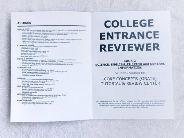 College Entrance Exam Reviewers for UPCAT, ACET, DLSUCET, etc
