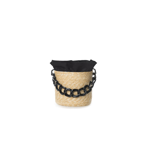Straw Basket Bag with Black Handle