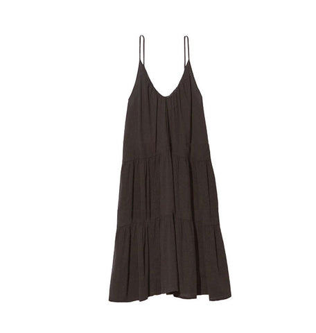 Condessa Tiered Midi Coverup Dress in Black