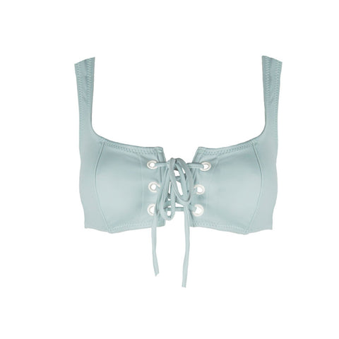 Isabella Lace Up Bikini Top in Sky Blue