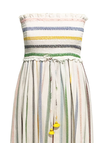 Embroidered Strapless Dress with Multi Color Smocking Detail