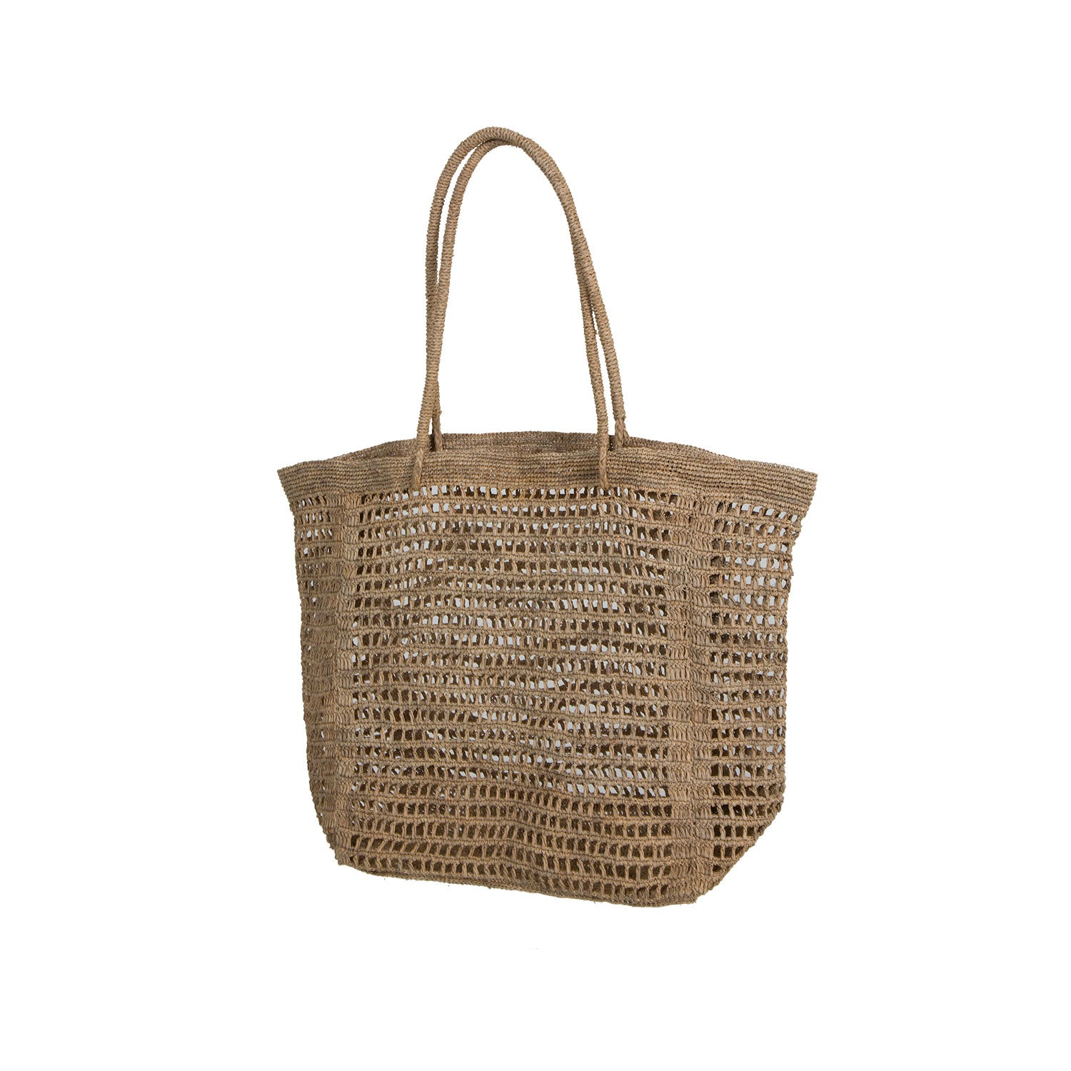 Hit Oversized Raffia Bag in Tea