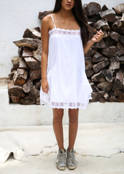 Lace Detail Slip Dress in White