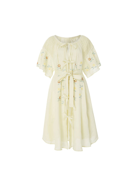 Midi Embroidered Smock Dress in Zest