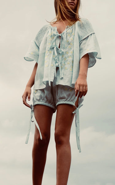 Embroidered Smock Top in Sea Mist