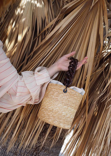 Straw Basket Bag with Amber Handle