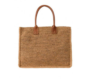 Will Raffia Tote with Leather Handles