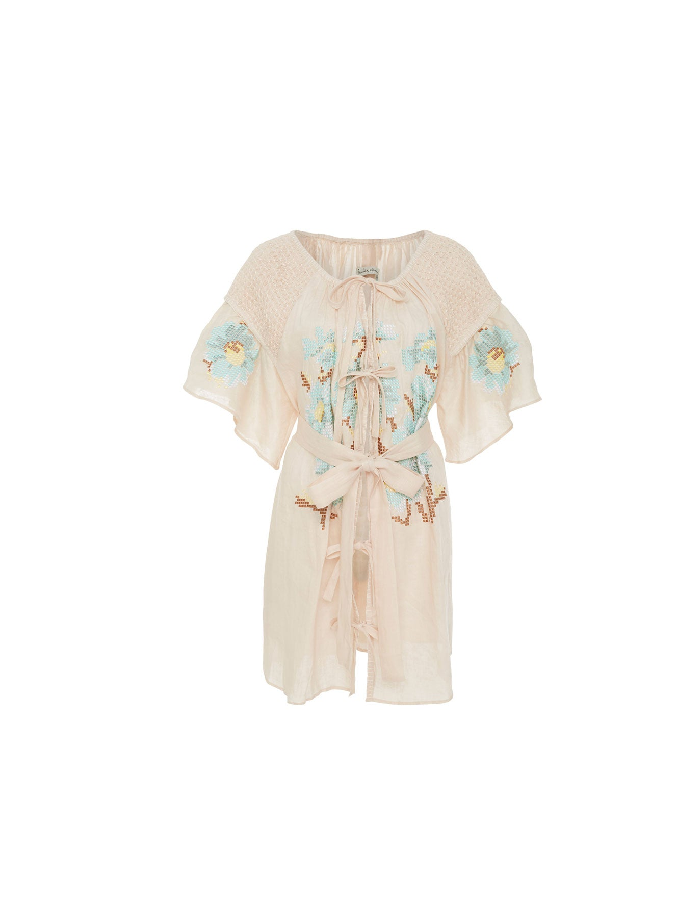 Embroidered Short Smock Dress in Biscuit