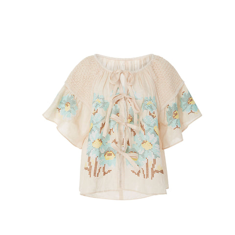 Embroidered Smock Top in Biscuit