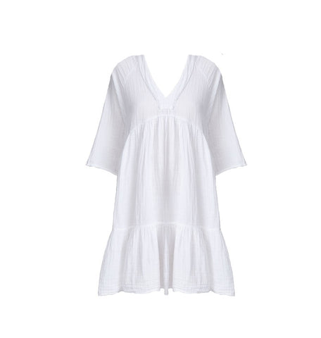 Marbella Double Gauze Cotton Dress in White