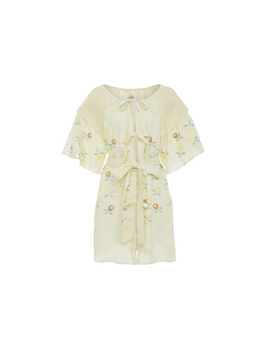 Embroidered Short Smock Dress in Zest