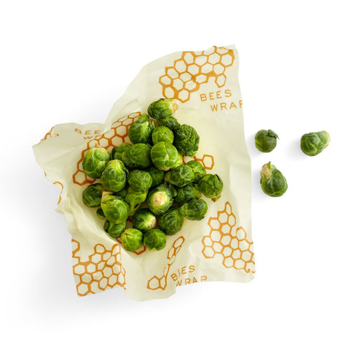 Brussel sprouts in medium reusable beeswax food wrap