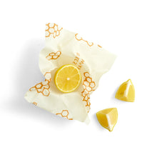 Lemon in small reusable beeswax food wrap