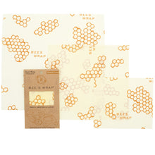 3 pack of reusable beeswax food wraps in small, medium, and large