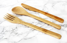 Bamboo fork, spoon, and knife cutlery set