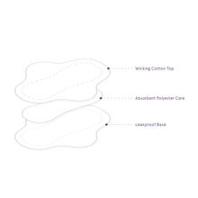 Pantyliner layers include wicking cotton top, absorbent polyester core, and leakproof base
