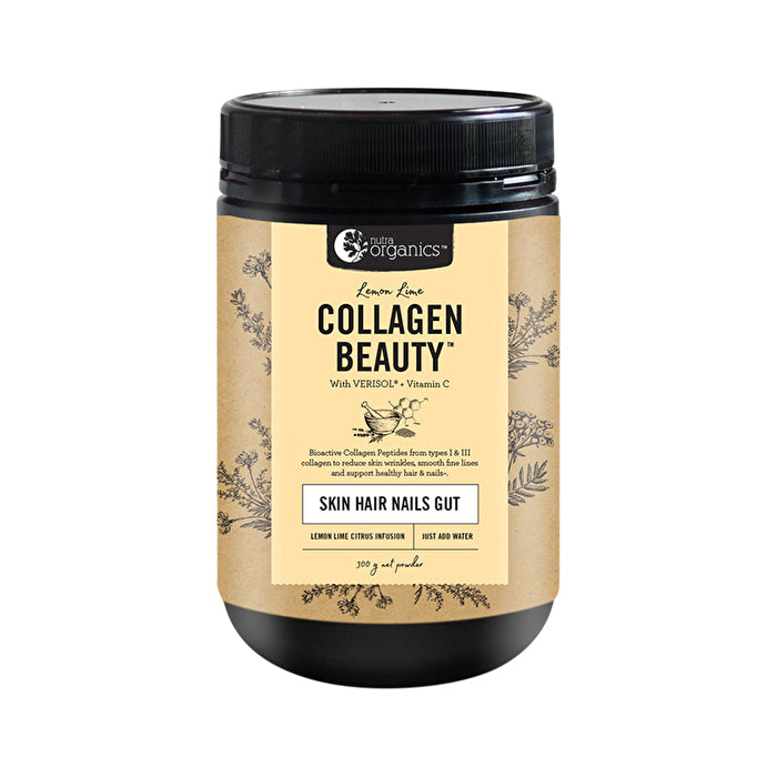 Nutra Organics Collagen Beauty with Verisol + Vitamin C (Skin Hair Nails Gut) Lemon Lime 300g Powder