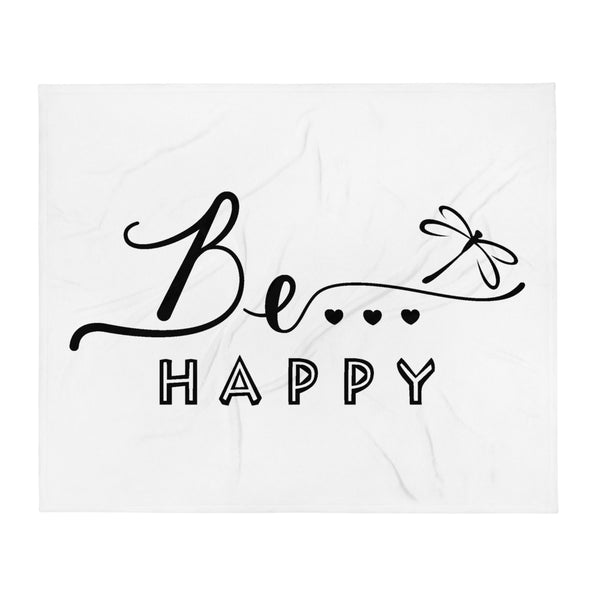 Be...Happy Throw Blanket - The Be Line Products