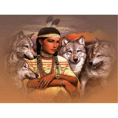 Indiaan - Wolven | Diamond Painting