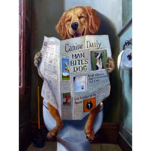 Hond Leest Krant | Diamond Painting - Myth Of Asia
