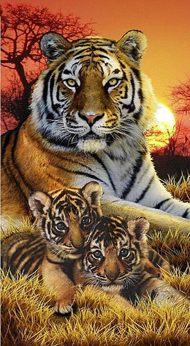 Tijger - Welpjes | Diamond Painting