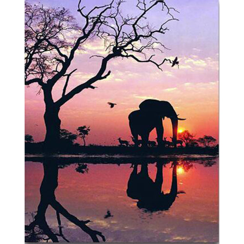 Olifant - Zonsondergang | Diamond Painting