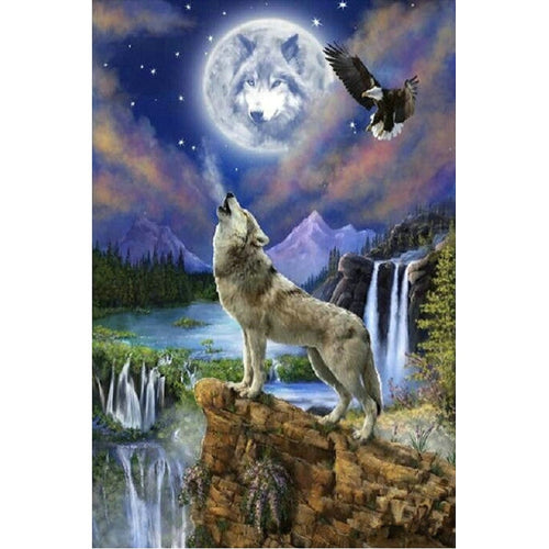 Huilende Wolf | Diamond Painting - Myth Of Asia