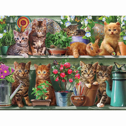 Katten In Tuinkast | Diamond Painting