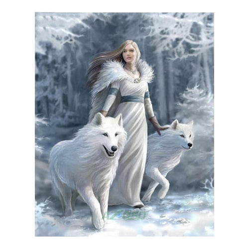 Wolf - Vrouw | Diamond Painting - Myth Of Asia