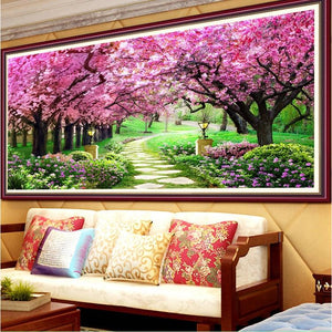 Roze Bomen XL | Diamond Painting