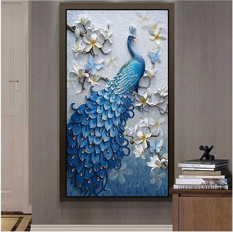 Blauwe Pauw XL | Diamond Painting