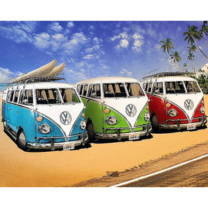 3 Oude VW Busjes | Diamond Painting