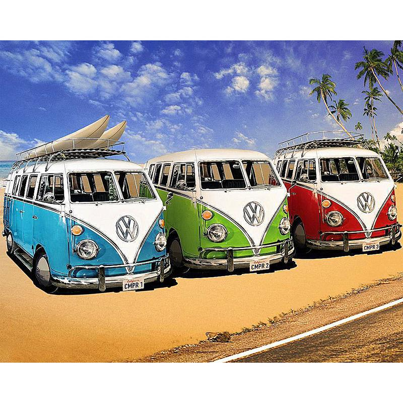 3 Oude VW Busjes | Diamond Painting - Myth Of Asia