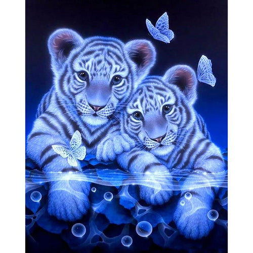 Witte Tijger Welpjes | Diamond Painting - Myth Of Asia