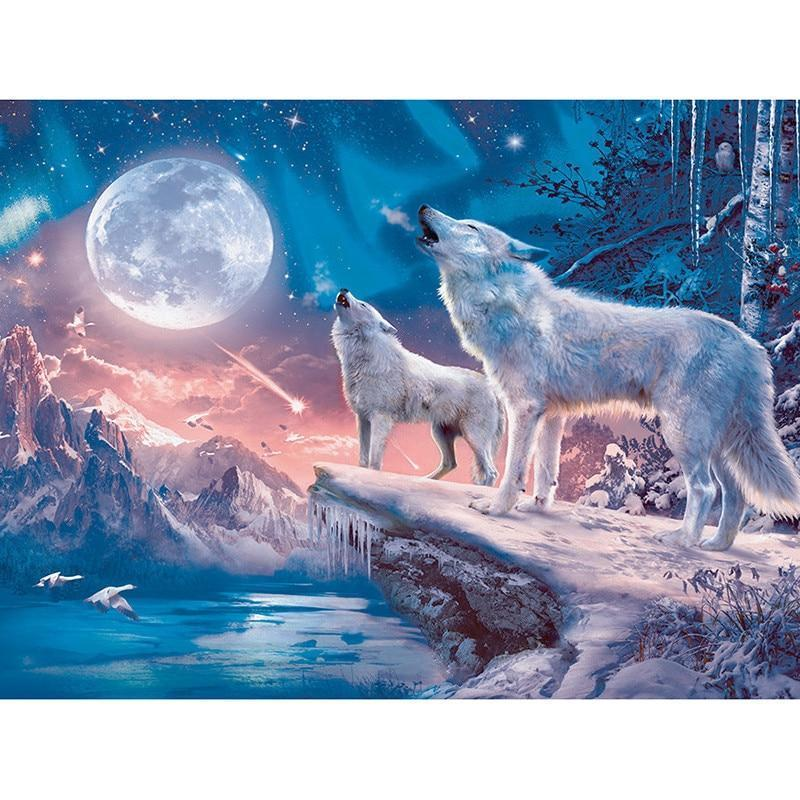 Witte Wolf - Maan | Diamond Painting - Myth Of Asia
