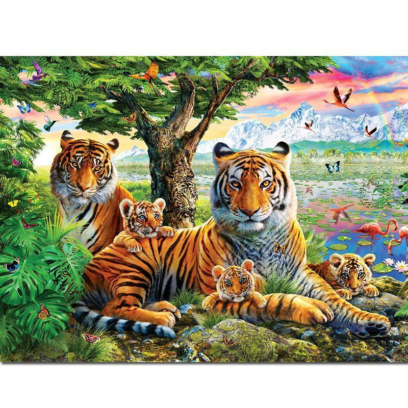 Tijger - Welpjes | Diamond Painting - Myth Of Asia