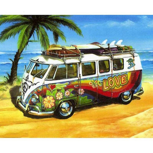 Oude VW Bus - Palmboom | Diamond Painting - Myth Of Asia