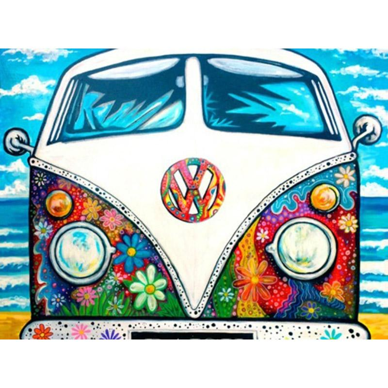 Oude VW Bus | Diamond Painting - Myth Of Asia