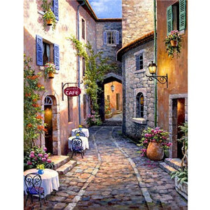 Café In Straatje | Diamond Painting