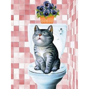 Kat Op Toilet | Diamond Painting