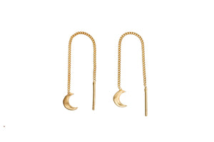 Threaded moon earrings